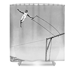 Trapeze Artist On The Swing Shower Curtain by Underwood Archives