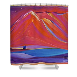 Shower Curtain featuring the painting Travelers Pink Mountains by First Star Art