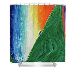 Shower Curtain featuring the painting Travelers Rainbow Waterfall By Jrr by First Star Art