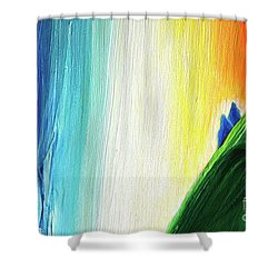 Shower Curtain featuring the painting Travelers Rainbow Waterfall Detail by First Star Art