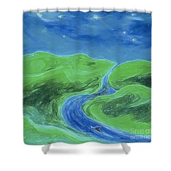 Shower Curtain featuring the painting Travelers Upstream By Jrr by First Star Art