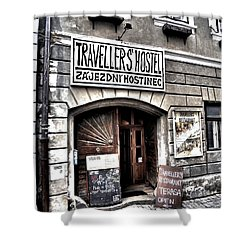 Shower Curtain featuring the photograph Travellers Hostel - Cesky Krumlov by Juergen Weiss