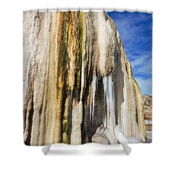 Shower Curtain featuring the photograph Travertine And Water And Ice by Sue Smith