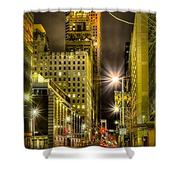 Travis And Lamar Street At Night Shower Curtain by David Morefield