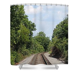 Shower Curtain featuring the photograph Traxs To Anywhere by Aaron Martens