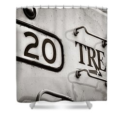 Tre 120 Shower Curtain by Joan Carroll