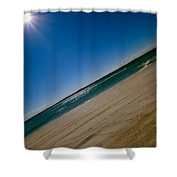 Shower Curtain featuring the photograph Treads In The Sand by DigiArt Diaries by Vicky B Fuller