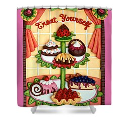 Treat Yourself Shower Curtain by Amy Vangsgard
