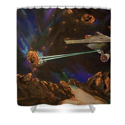 Shower Curtain featuring the mixed media Trek Adventure by Peter Suhocke
