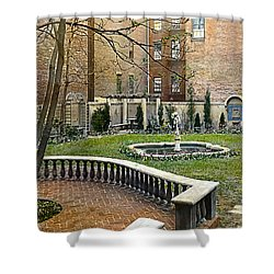 Tree And Bench Shower Curtain by Terry Reynoldson