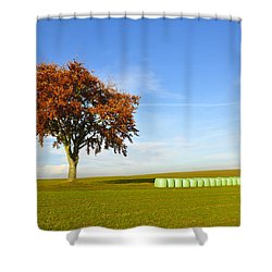 Tree And Hay Bales Shower Curtain by Aged Pixel
