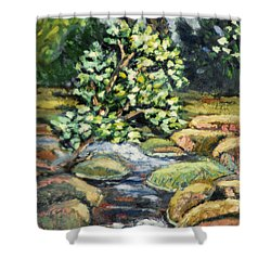 Tree And Stream Shower Curtain