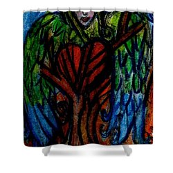 Tree Angel Shower Curtain by Genevieve Esson
