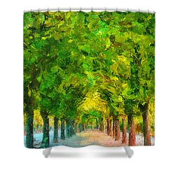 Tree Avenue In The Vienna Augarten Shower Curtain by Menega Sabidussi