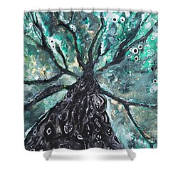 Tree Branches Above Shower Curtain by Tara Thelen