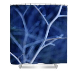Tree Branches Abstract Blue Shower Curtain by Jennie Marie Schell