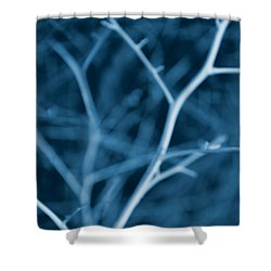 Tree Branches Abstract Cobalt Blue Shower Curtain by Jennie Marie Schell
