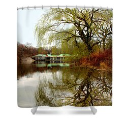 Tree By The River  Shower Curtain by Mark Ashkenazi