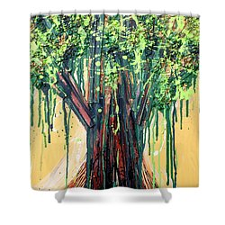 Tree Grit Shower Curtain by Genevieve Esson