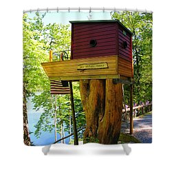 Shower Curtain featuring the photograph Tree House Boat by Sherman Perry