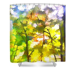 Shower Curtain featuring the digital art Tree Leaves by Frank Bright