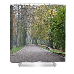Shower Curtain featuring the photograph Tree Lined Path In Fall Season Bruges Belgium by Imran Ahmed