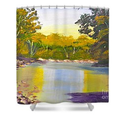 Tree Lined River Shower Curtain