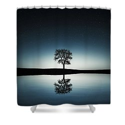 Tree Near Lake At Night Shower Curtain