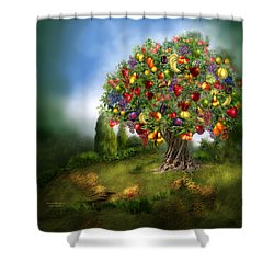 Tree Of Abundance Shower Curtain by Carol Cavalaris