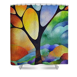 Tree Of Joy Shower Curtain by Sally Trace