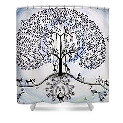 Tree Of Life Shower Curtain by Anjali Vaidya