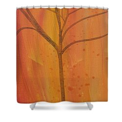 Shower Curtain featuring the painting Tree Of Three Coral by Robin Maria Pedrero