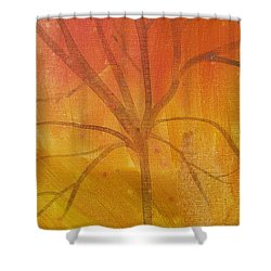 Shower Curtain featuring the painting Tree Of Three Gold by Robin Maria Pedrero