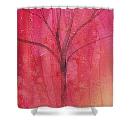 Shower Curtain featuring the painting Tree Of Three Pink by Robin Maria Pedrero