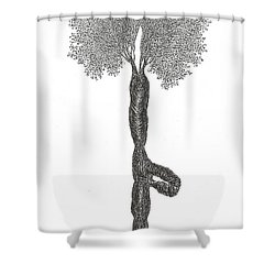 Tree Pose Shower Curtain