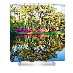 Tree Reflections And Pink Flowers By The Blue Water By Jan Marvin Studios Shower Curtain