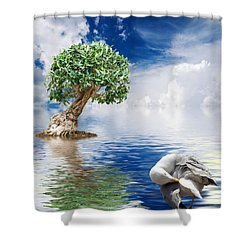 Tree Seagull And Sea Shower Curtain by Antonio Scarpi