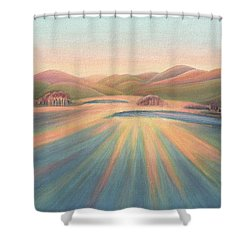 Tree Shadows Sunset Tasmania Shower Curtain