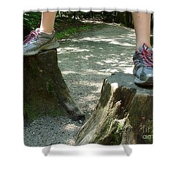 Tree Stump Stilts Shower Curtain
