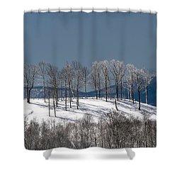 Tree Topper Hill Shower Curtain by John Haldane