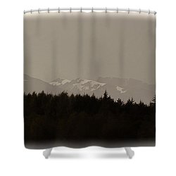 Treeline With Ice Capped Mountains In The Scottish Highlands Shower Curtain