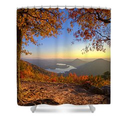 Trees Aflame Shower Curtain by Debra and Dave Vanderlaan