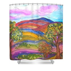 Trees And The Mountain Shower Curtain