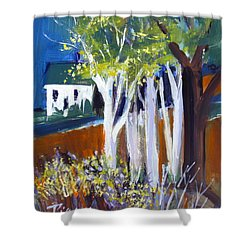 Shower Curtain featuring the painting Trees And White Farm House by Betty Pieper