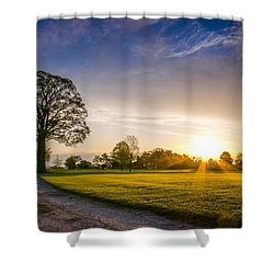 Trees At Dawn On Golf Course Shower Curtain