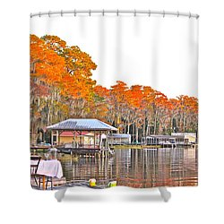 Shower Curtain featuring the photograph Trees By The Lake by Lorna Maza