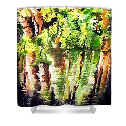 Trees Shower Curtain by Daniel Janda