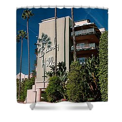 Trees In Front Of A Hotel, Beverly Shower Curtain