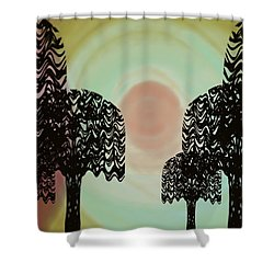 Trees Of Light Shower Curtain by Christine Fournier