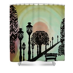 Trees Of Lights Shower Curtain by Christine Fournier